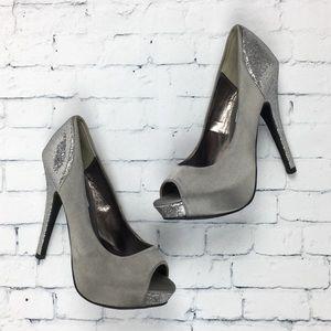 Steve Madden P Tessi Glitter Heels Silver Sz 6.5